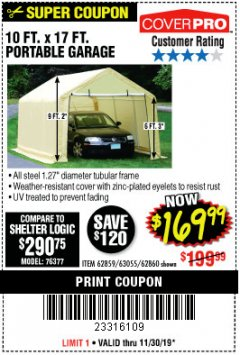 Harbor Freight Coupon 10 FT. X 17FT. PORTABLE GARAGE Lot No. 62859/63055/62860 Expired: 11/30/19 - $169.99