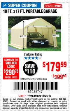 Harbor Freight Coupon 10 FT. X 17FT. PORTABLE GARAGE Lot No. 62859/63055/62860 Expired: 12/24/19 - $179.99