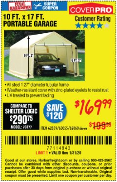 Harbor Freight Coupon 10 FT. X 17FT. PORTABLE GARAGE Lot No. 62859/63055/62860 Expired: 1/31/20 - $169.99