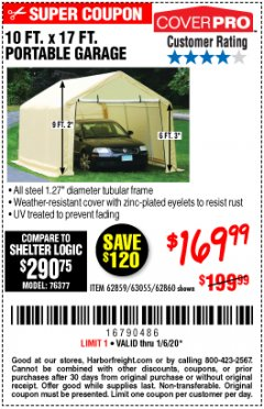 Harbor Freight Coupon 10 FT. X 17FT. PORTABLE GARAGE Lot No. 62859/63055/62860 Expired: 1/6/20 - $169.99