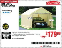 Harbor Freight Coupon 10 FT. X 17FT. PORTABLE GARAGE Lot No. 62859/63055/62860 Expired: 2/2/20 - $179.99