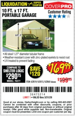Harbor Freight Coupon 10 FT. X 17FT. PORTABLE GARAGE Lot No. 62859/63055/62860 Expired: 3/31/20 - $196.99