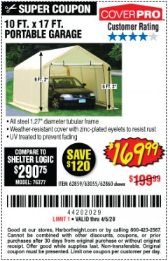 Harbor Freight Coupon 10 FT. X 17FT. PORTABLE GARAGE Lot No. 62859/63055/62860 Valid Thru: 4/5/20 - $169.99