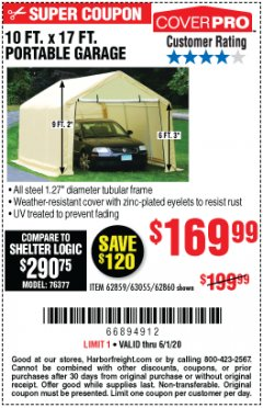Harbor Freight Coupon 10 FT. X 17FT. PORTABLE GARAGE Lot No. 62859/63055/62860 Valid Thru: 6/1/20 - $169.99