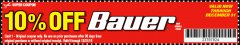 Harbor Freight Coupon ANY BAUER Lot No. 63528/63531/63527/63629/63441/63444/63437/63440/63436/63439/63445/63433/63443/63447/63630/63529/63530/63631/63910/63628/63911/63907/63634/63632/64024/64025/64121/64072/64071/64063/64168/64120/63999/64146/64112/63988/64276/64288/64277/64472/64473/64482/649 Valid Thru: 12/31/19 - $10