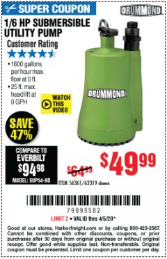 Harbor Freight Coupon 1/6 HP SUBMERSIBLE UTILITY PUMP Lot No. 56361/63319 EXPIRES: 6/30/20 - $49.99