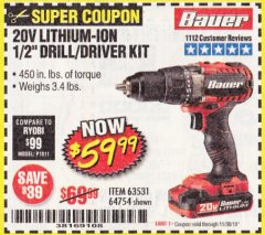 Harbor Freight Coupon 20V HYPERMAX LITHIUM 1/2 IN. DRILL/DRIVER KIT Lot No. 63531 Expired: 11/30/19 - $59.99