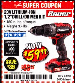Harbor Freight Coupon 20V HYPERMAX LITHIUM 1/2 IN. DRILL/DRIVER KIT Lot No. 63531 Expired: 3/31/20 - $59.99
