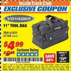 "Harbor Freight ITC Coupon 11"" TOOL BAG Lot No. 61168/35539/61835 Expired: 11/30/18 - $4.99"