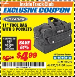 "Harbor Freight ITC Coupon 11"" TOOL BAG Lot No. 61168/35539/61835 Dates Valid: 5/3/19 - 5/31/19 - $4.99"