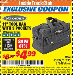 "Harbor Freight ITC Coupon 11"" TOOL BAG Lot No. 61168/35539/61835 Expired: 8/31/19 - $4.99"