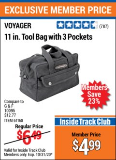 "Harbor Freight ITC Coupon 11"" TOOL BAG Lot No. 61168/35539/61835 Expired: 10/31/20 - $4.99"