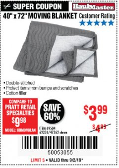 "Harbor Freight Coupon 40"" X 72"" MOVING BLANKET Lot No. 69504/62336/47262 Expired: 9/2/19 - $3.99"