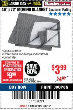 "Harbor Freight Coupon 40"" X 72"" MOVING BLANKET Lot No. 69504/62336/47262 Expired: 9/8/19 - $3.99"