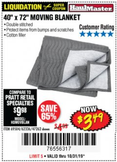 "Harbor Freight Coupon 40"" X 72"" MOVING BLANKET Lot No. 69504/62336/47262 Expired: 10/31/19 - $3.49"