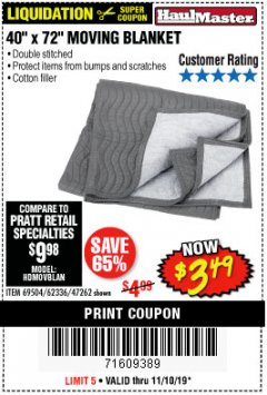 "Harbor Freight Coupon 40"" X 72"" MOVING BLANKET Lot No. 69504/62336/47262 Expired: 11/10/19 - $3.49"