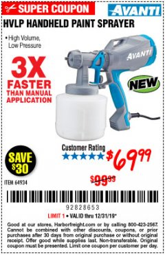 Harbor Freight Coupon AVANTI HVLP HAND HELD PAINT SPRAYER Lot No. 64934 Expired: 12/31/19 - $69.99