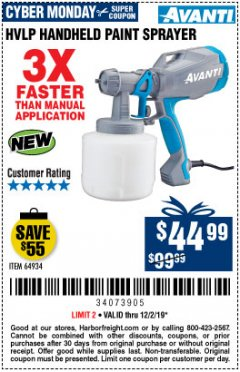Harbor Freight Coupon AVANTI HVLP HAND HELD PAINT SPRAYER Lot No. 64934 Expired: 12/2/19 - $44.99