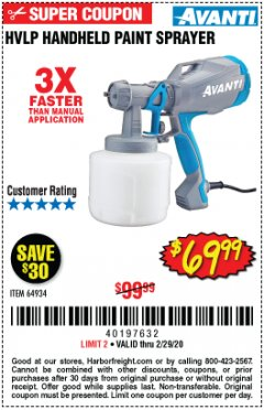 Harbor Freight Coupon AVANTI HVLP HAND HELD PAINT SPRAYER Lot No. 64934 Expired: 2/29/20 - $69.99