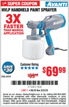 Harbor Freight Coupon AVANTI HVLP HAND HELD PAINT SPRAYER Lot No. 64934 Expired: 3/22/20 - $69.99