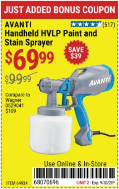 Harbor Freight Coupon AVANTI HVLP HAND HELD PAINT SPRAYER Lot No. 64934 Expired: 9/30/20 - $69.99