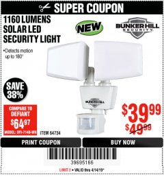 Harbor Freight Coupon 1160 LUMENS SOLAR LED SECURITY LIGHT  Lot No. 64734 Expired: 4/14/19 - $39.99