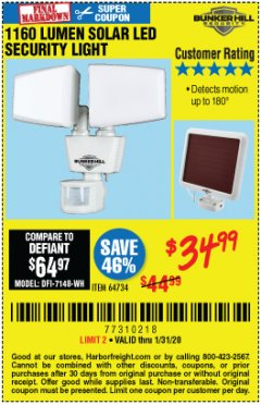 Harbor Freight Coupon 1160 LUMENS SOLAR LED SECURITY LIGHT  Lot No. 64734 Expired: 1/31/20 - $34.99