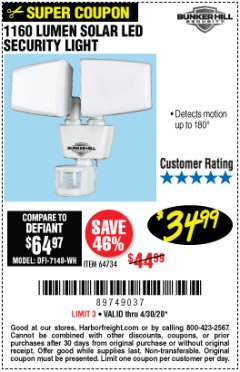 Harbor Freight Coupon 1160 LUMENS SOLAR LED SECURITY LIGHT  Lot No. 64734 Valid Thru: 4/30/20 - $34.99