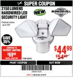 Harbor Freight Coupon 2150 LUMENS HARDWIRED LED SECURITY LIGHT Lot No. 64910 Expired: 4/14/19 - $44.99