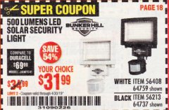 Harbor Freight Coupon 500 LUMENS LED SOLAR SECURITY LIGHT Lot No. 56408/64759/56213/64737 Expired: 4/30/19 - $31.99