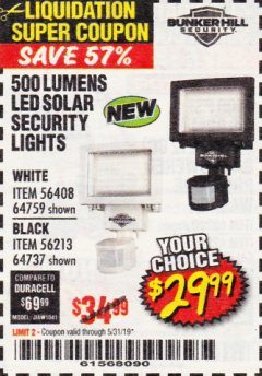 Harbor Freight Coupon 500 LUMENS LED SOLAR SECURITY LIGHT Lot No. 56408/64759/56213/64737 Expired: 5/31/19 - $29.99