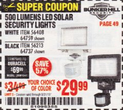 Harbor Freight Coupon 500 LUMENS LED SOLAR SECURITY LIGHT Lot No. 56408/64759/56213/64737 EXPIRES: 5/31/19 - $29.99