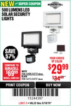 Harbor Freight Coupon 500 LUMENS LED SOLAR SECURITY LIGHT Lot No. 56408/64759/56213/64737 Expired: 6/10/19 - $29.99