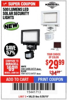 Harbor Freight Coupon 500 LUMENS LED SOLAR SECURITY LIGHT Lot No. 56408/64759/56213/64737 Expired: 6/30/19 - $29.99