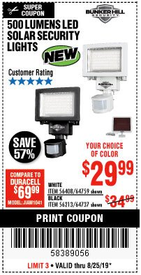 Harbor Freight Coupon 500 LUMENS LED SOLAR SECURITY LIGHT Lot No. 56408/64759/56213/64737 Expired: 8/25/19 - $29.99