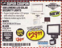 Harbor Freight Coupon 500 LUMENS LED SOLAR SECURITY LIGHT Lot No. 56408/64759/56213/64737 Expired: 10/31/19 - $29.99