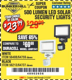 Harbor Freight Coupon 500 LUMENS LED SOLAR SECURITY LIGHT Lot No. 56408/64759/56213/64737 Expired: 2/12/20 - $23.99