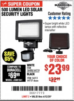Harbor Freight Coupon 500 LUMENS LED SOLAR SECURITY LIGHT Lot No. 56408/64759/56213/64737 Valid: 4/1/20 - 6/30/20 - $23.99