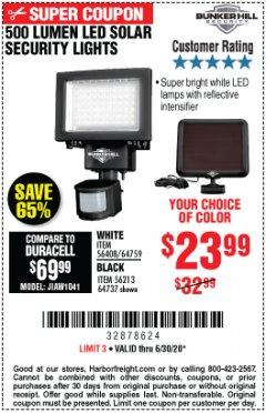 Harbor Freight Coupon 500 LUMENS LED SOLAR SECURITY LIGHT Lot No. 56408/64759/56213/64737 Valid Thru: 6/30/20 - $23.99
