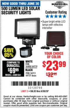 Harbor Freight Coupon 500 LUMENS LED SOLAR SECURITY LIGHT Lot No. 56408/64759/56213/64737 EXPIRES: 6/30/20 - $23.99