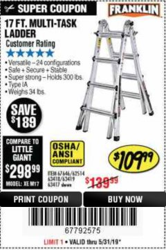 Harbor Freight Coupon 17 FOOT TYPE IA MUTI TASK LADDER Lot No. 67646/63418/63419/63417 EXPIRES: 5/31/19 - $109.99