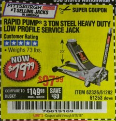 Harbor Freight Coupon RAPID PUMP 3 TON LOW PROFILE HEAVY DUTY STEEL FLOOR JACK Lot No. 64264/64266/64879/64881/61282/62326/61253 Expired: 9/18/18 - $79.99