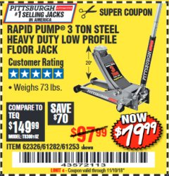 Harbor Freight Coupon RAPID PUMP 3 TON LOW PROFILE HEAVY DUTY STEEL FLOOR JACK Lot No. 64264/64266/64879/64881/61282/62326/61253 Expired: 11/10/18 - $79.99