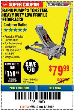 Harbor Freight Coupon RAPID PUMP 3 TON LOW PROFILE HEAVY DUTY STEEL FLOOR JACK Lot No. 64264/64266/64879/64881/61282/62326/61253 Expired: 8/12/18 - $79.99