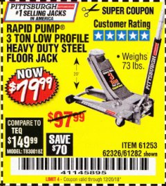 Harbor Freight Coupon RAPID PUMP 3 TON LOW PROFILE HEAVY DUTY STEEL FLOOR JACK Lot No. 64264/64266/64879/64881/61282/62326/61253 Expired: 12/20/18 - $79.99