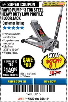 Harbor Freight Coupon RAPID PUMP 3 TON LOW PROFILE HEAVY DUTY STEEL FLOOR JACK Lot No. 64264/64266/64879/64881/61282/62326/61253 Expired: 9/30/18 - $89.99