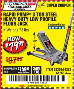 Harbor Freight Coupon RAPID PUMP 3 TON LOW PROFILE HEAVY DUTY STEEL FLOOR JACK Lot No. 64264/64266/64879/64881/61282/62326/61253 Expired: 1/6/19 - $79.99