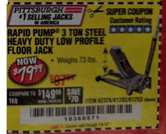 Harbor Freight Coupon RAPID PUMP 3 TON LOW PROFILE HEAVY DUTY STEEL FLOOR JACK Lot No. 64264/64266/64879/64881/61282/62326/61253 Expired: 1/4/19 - $79.99