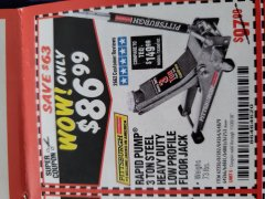 Harbor Freight Coupon RAPID PUMP 3 TON LOW PROFILE HEAVY DUTY STEEL FLOOR JACK Lot No. 64264/64266/64879/64881/61282/62326/61253 Expired: 11/30/18 - $86.99