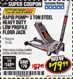 Harbor Freight Coupon RAPID PUMP 3 TON LOW PROFILE HEAVY DUTY STEEL FLOOR JACK Lot No. 64264/64266/64879/64881/61282/62326/61253 Expired: 11/30/18 - $79.99